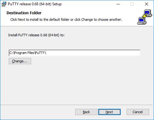 Putty install asks destination folder