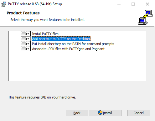 Selecting installation options for PuTTY installer on Windows 7, 8, 10